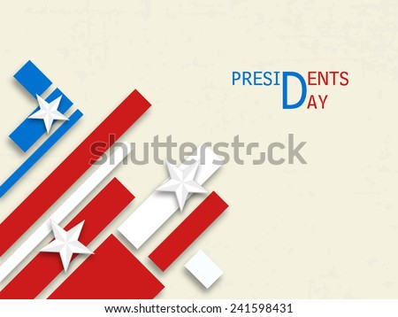 Happy Presidents Day celebration with United State of American flag design on white background. - stock vector