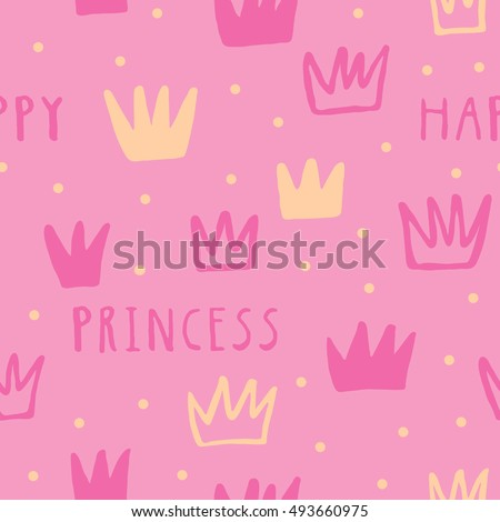 Happy Princess vector seamless pattern with Crowns. Simple ink texture about Princesses.