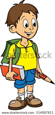 happy pupil go to school with bag on his back. kid hold big pencil and book in his hands. - stock vector