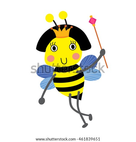Happy Queen Bee holding scepter animal cartoon character. Isolated on white background. Vector illustration.