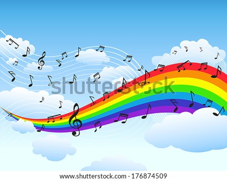 happy rainbow with music note background - stock vector