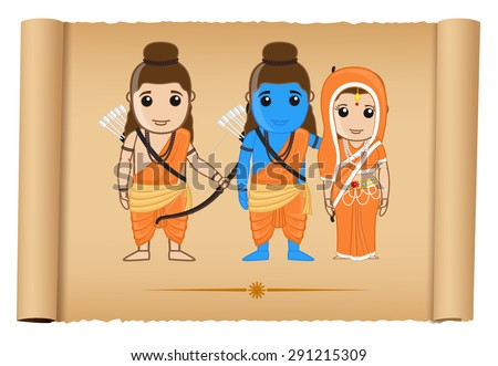 Happy Ram Navami - Ramayana - stock vector