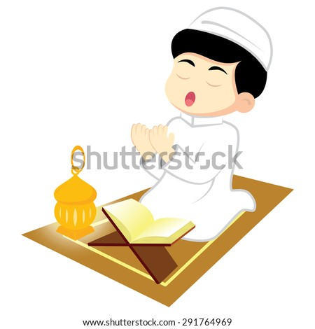 Happy Ramadan. Little Boy Muslim praying on carpet. Reading Namaj, Islamic Prayer from the lighting of the a lamp. Vector illustration. - stock vector
