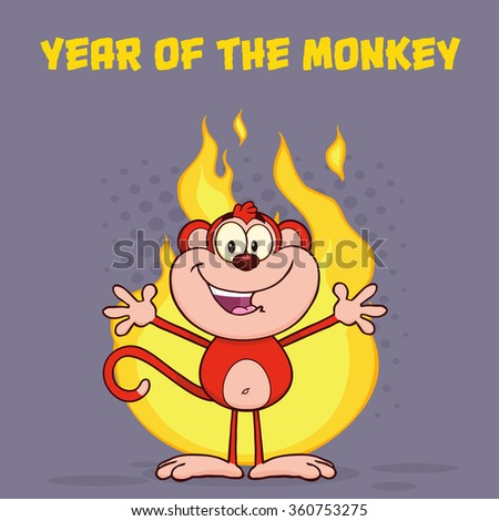 Happy Red Monkey Cartoon Character Welcoming Over Flames. Vector Illustration Greeting Card