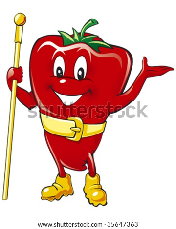 Happy red pepper vector illustration