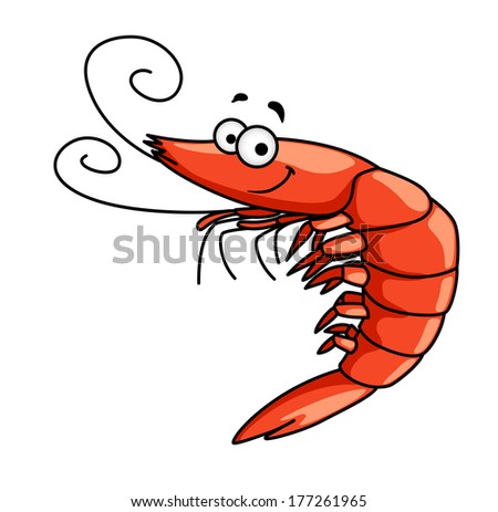 happy red prawn or shrimp with curly feelers and a smiling Steaming Clip Art Serving Platter Serving Platter Clip Art