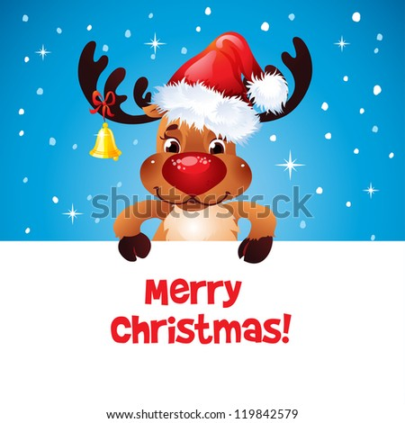 Happy Reindeer with Santa's hat and bell holding blank paper for your text  Text on a separate layer - stock vector