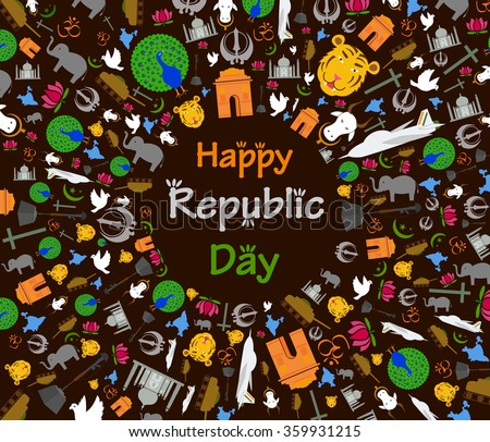 Happy Republic Day of India in vector background - stock vector