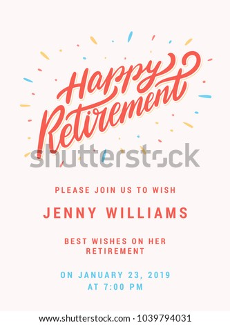 Happy Retirement Party Invitation Template Stock Vector