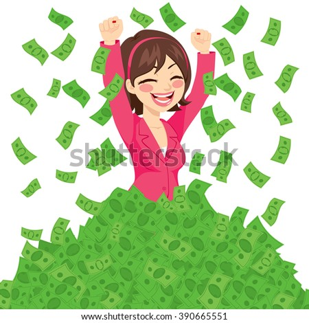 Happy rich successful businesswoman raising from huge pile of green money banknotes wearing pink suit - stock vector