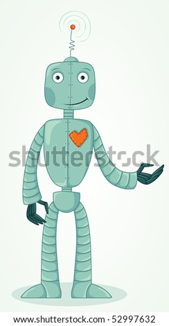 happy robot with a real heart - stock vector