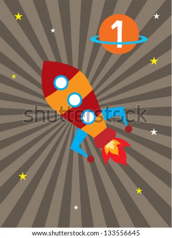 happy rocket first birthday announcement - stock vector