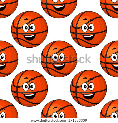 Happy round smiling orange emoticons repeat colorful seamless pattern - stock vector