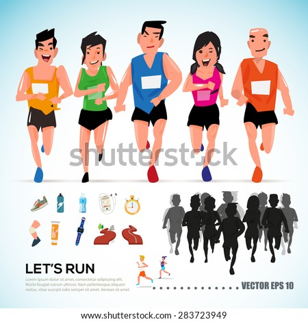 happy runner group with running kit elements and silhouette. character design. info graphic. let's run concept- vector illustration - stock vector