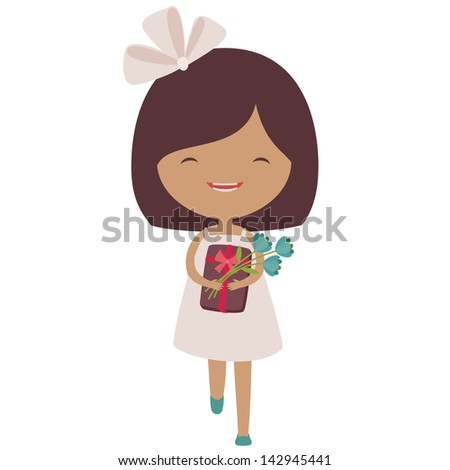 Happy running little girl with a gift and flowers - stock vector