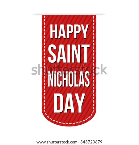 Happy Saint Nicholas Day banner design over a white background, vector illustration - stock vector