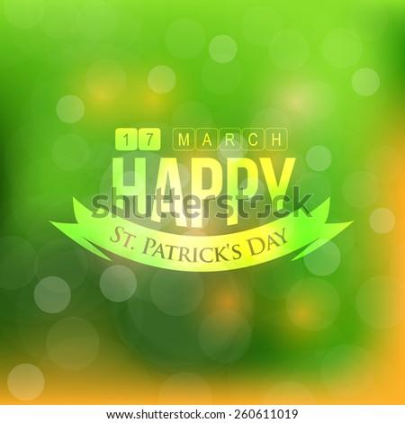 Happy Saint Patricks Day Blurred Background - stock vector