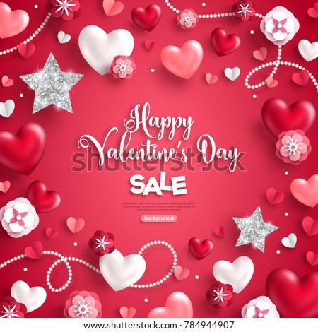 Happy Saint Valentineu0027s Day Sale, Holiday Objects On Red Background. Vector  Illustration. Glittering