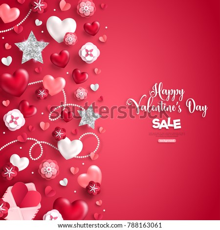 Happy Saint Valentines Day Sale Vertical Stock Vector 788163061 ...