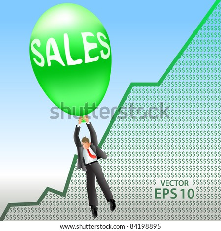 Happy sales manager floats up on a big green balloon over positive revenue chart
