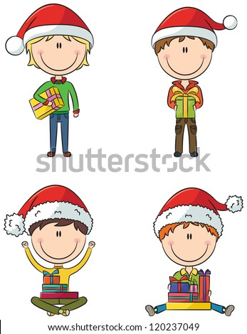Happy Santa boys with different christmas presents - stock vector