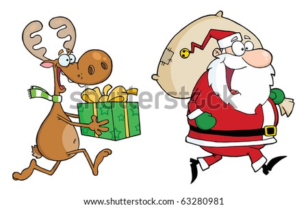 Happy Santa Claus And Reindeer Runs With Gifts