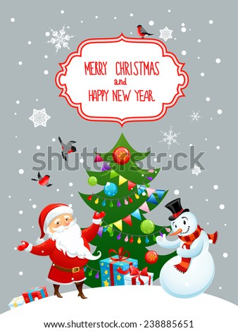 Happy Santa Claus and snowman with christmas tree. Holiday card