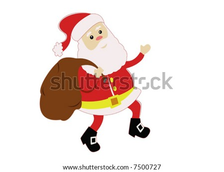 Happy Santa Claus carrying a bag full of presents