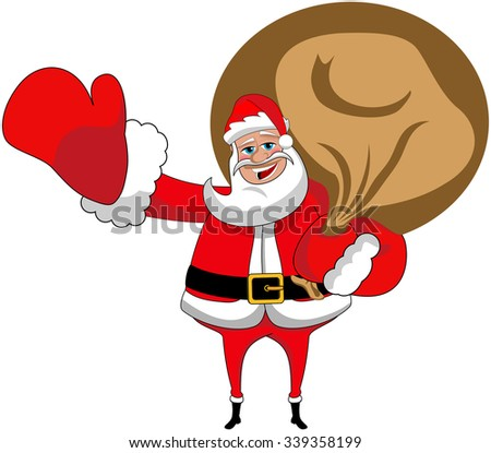 happy Santa Claus holding sack full of gifts or presents isolated