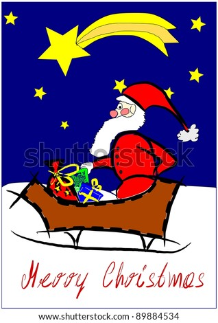 Happy Santa Claus in wooden sledge - colorful vector