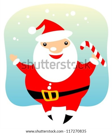 Happy Santa Claus on a blue background. Christmas illustration.