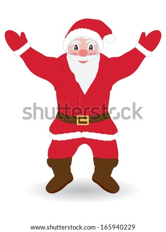 happy Santa Claus over white background