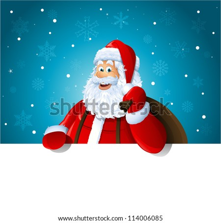 Happy Santa Claus over white blank - stock vector