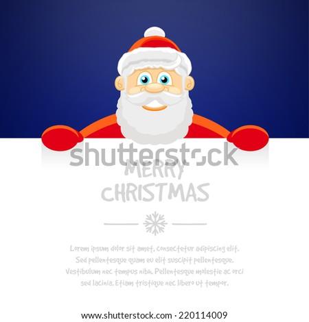 Happy Santa Claus over white blank. Merry Christmas, vector illustration - stock vector