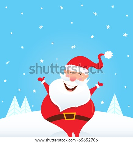 Happy Santa Claus with falling snow and trees. Cute christmas Santa in red costume. Vector Illustration. - stock vector