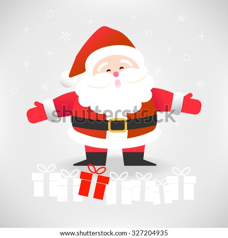Happy Santa Claus with gift boxes vector illustration for Christmas celebration