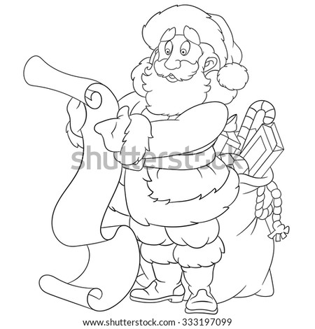 happy Santa Claus with gifts is reading a scroll - stock vector