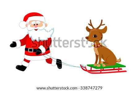 Happy Santa driven in a sleigh reindeer. Cartoon illustration.