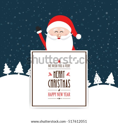 happy santa wave behind christmas sign greeting winter background