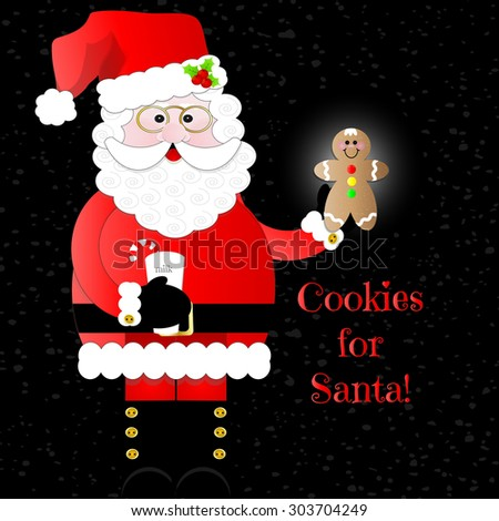 Happy Santa with Milk and Gingerbread Cookie - stock vector