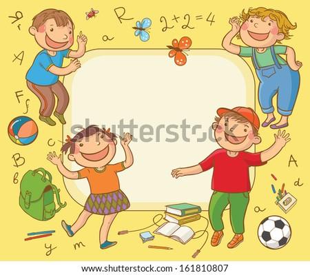 Happy School Children Card Back School Stock Vector ...