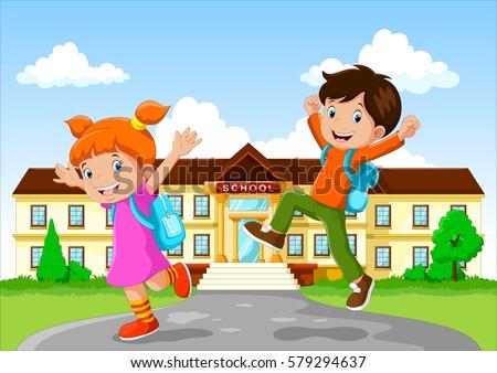 Happy School Children Backpack On School Stock Vector ...
