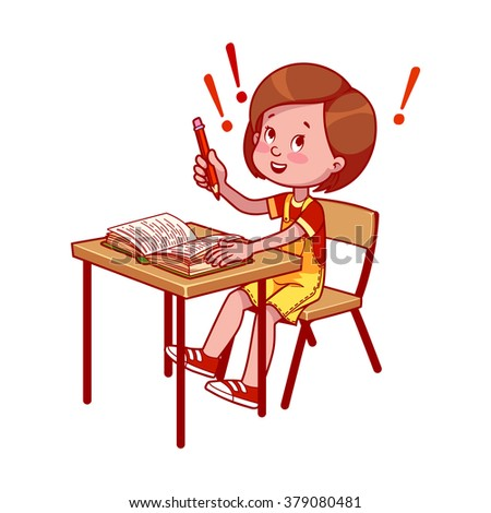 Happy school girl at a school desk with book. Getting an education. Vector cartoon illustration isolated on a white background.