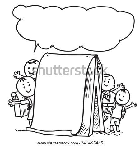 Happy schoolkids behind flip-chart speaking - stock vector