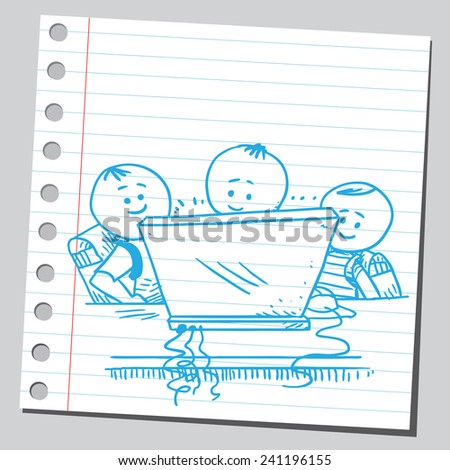 Happy schoolkids with computer - stock vector
