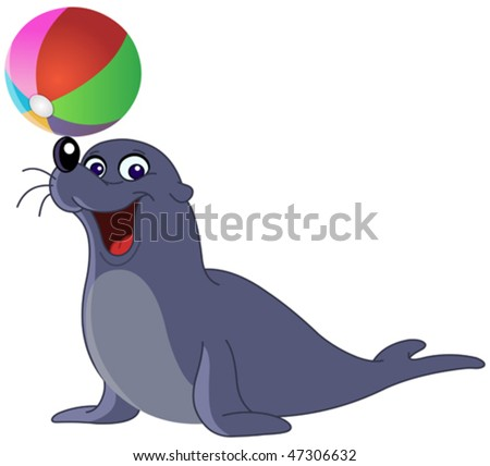 Happy seal with a colored ball - stock vector