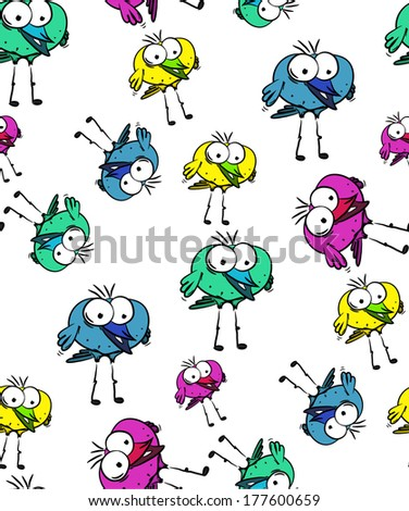 Happy seamless bird pattern on white background, vector - stock vector