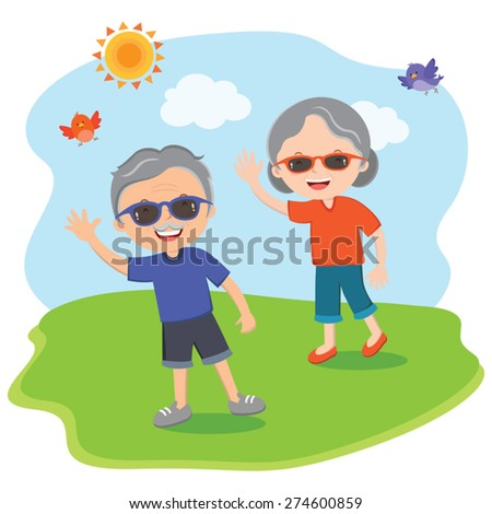 Happy senior people fun in the sun. Happy family outing, having fun in the sunny day! - stock vector