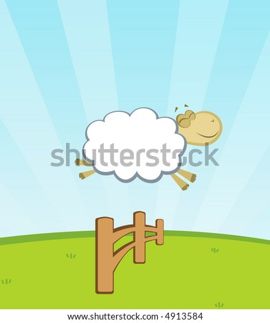 happy sheep jumping a fence - stock vector