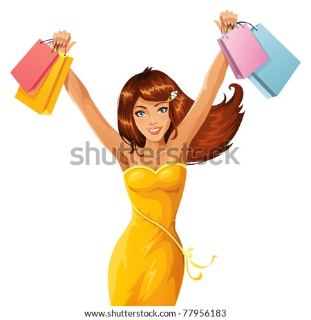 Happy shopper - stock vector